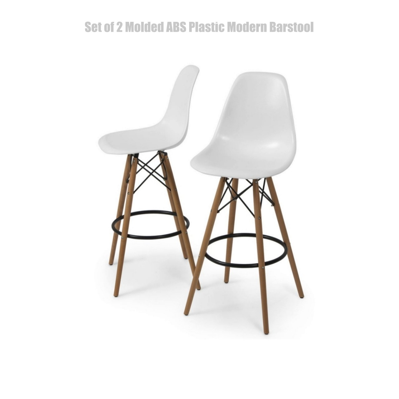 Modern Molded ABS Plastic Dining Chair Wooden Dowel Legs Posture Support Flexible Backrest Design Innovative Side Chair - Set of 2 White #1457