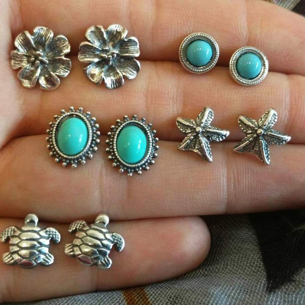 Mosichi New Style 5 Pairs Starfish Turtle Flowers Artificial Turquoise Boho Stud Earrings Jewelry Antique Silver