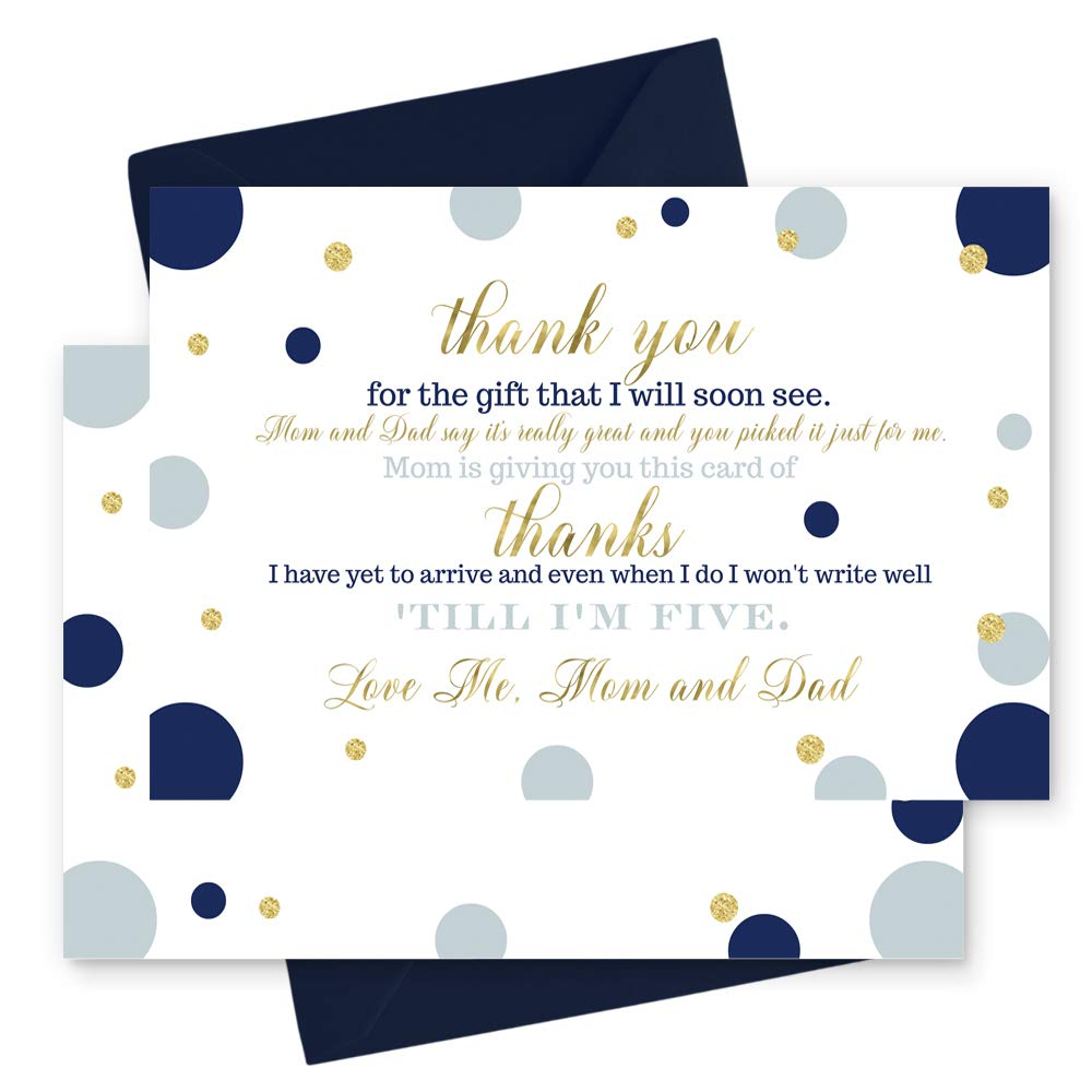 15 Navy and Gold Thank You Cards with Navy Envelopes - Stationery for Boys Baby Shower - Stylish Abstract Dot Party Theme