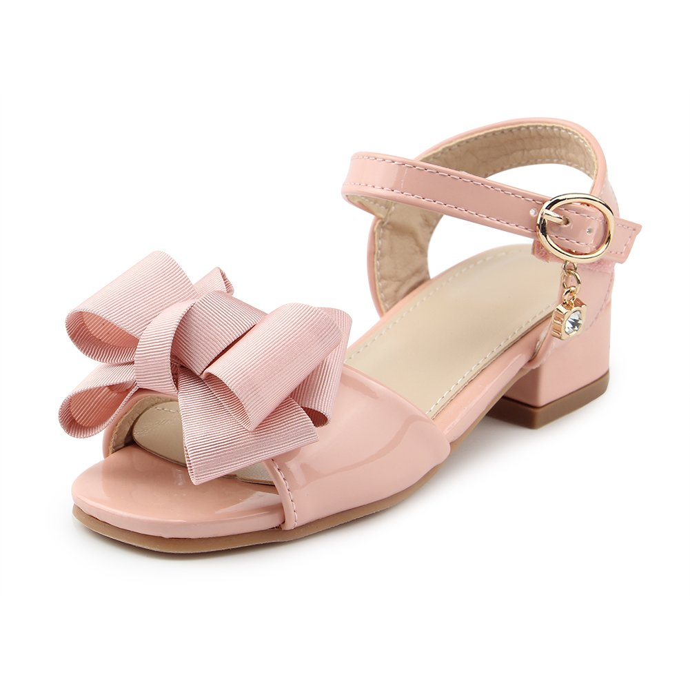 Chiximaxu Little Girls Summer Ankle Strap Low Heel Sandal with Bow Knot,Pink,Toddler Size 9.5