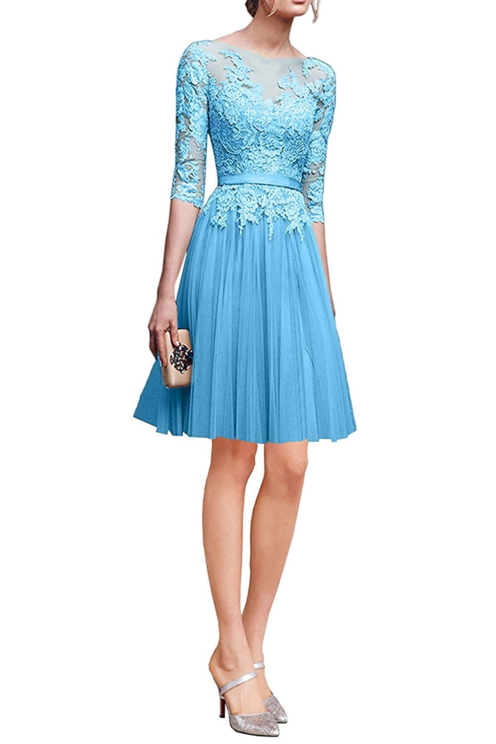 bluee ZLQQ Woman's Half Sleeves Tulle Short Bridesmaid Dresses Lace Tea Length Evening Gowns