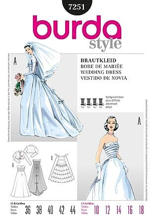 Burda Damen Schnittmuster 7251 für Hochzeitskleid im Vintage-Stil ...