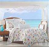 Full / Queen Under the Sea Quilt Popping with Bright Exotic Island Ocean Life Color and Soft Subtle Script