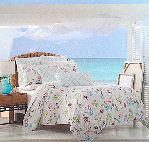 Full / Queen Under the Sea Quilt Popping with Bright Exotic Island Ocean Life Color and Soft Subtle Script by Sigrid Olsen Home