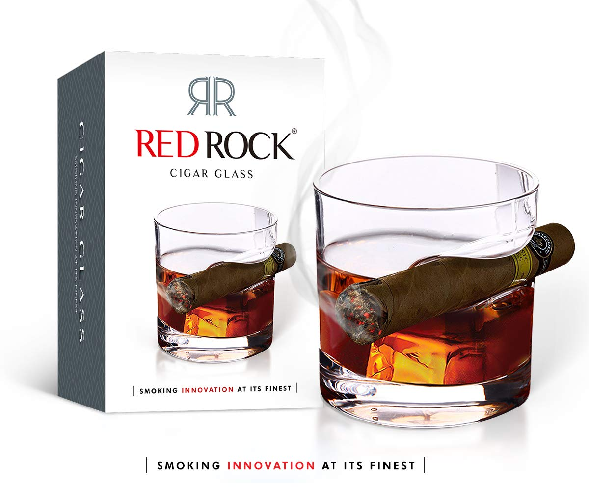 RedRock Premium Cigar Glass - Double Old Fashioned Glass with Built-In Slot to Hold Cigar | Classic Round with Luxury Thick Sides & Bottom