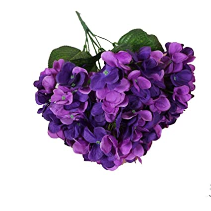 Amazon simulate hydrangea bouquets purple koolee pretty simulate hydrangea bouquets purple koolee pretty artificial silk fake flowers wedding home decor mightylinksfo