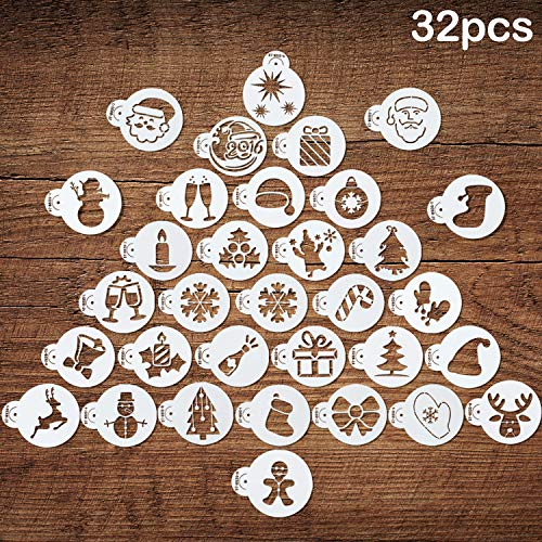32 Pieces Christmas Cookie Stencils Fondant Cupcake Stencil Molds Embossing Cookie Cutter Templates for Christmas Holiday Crafts Decor Supplies, 32 Styles (Christmas Royal Tree Icing Cookies)