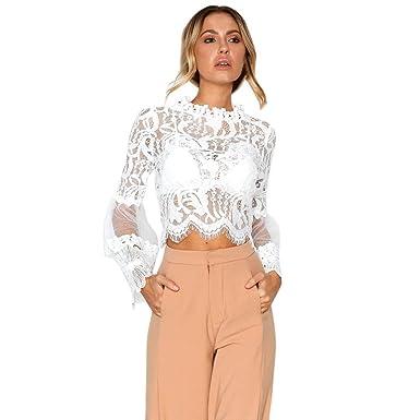 1c369443d32e2 TUDUZ Newest Creative Design Women Fashion Elegant Lace Crochet Hollow Out  T-Shirts Flare Long Sleeve Blouse Crop Tops  Amazon.co.uk  Clothing