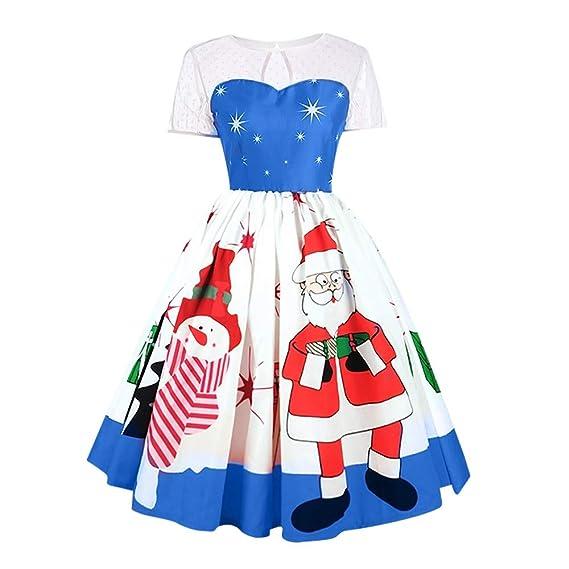 19e1f6701543 Yvelands Moda Mujer Feliz Navidad Vintage Santa Claus Imprimir ...