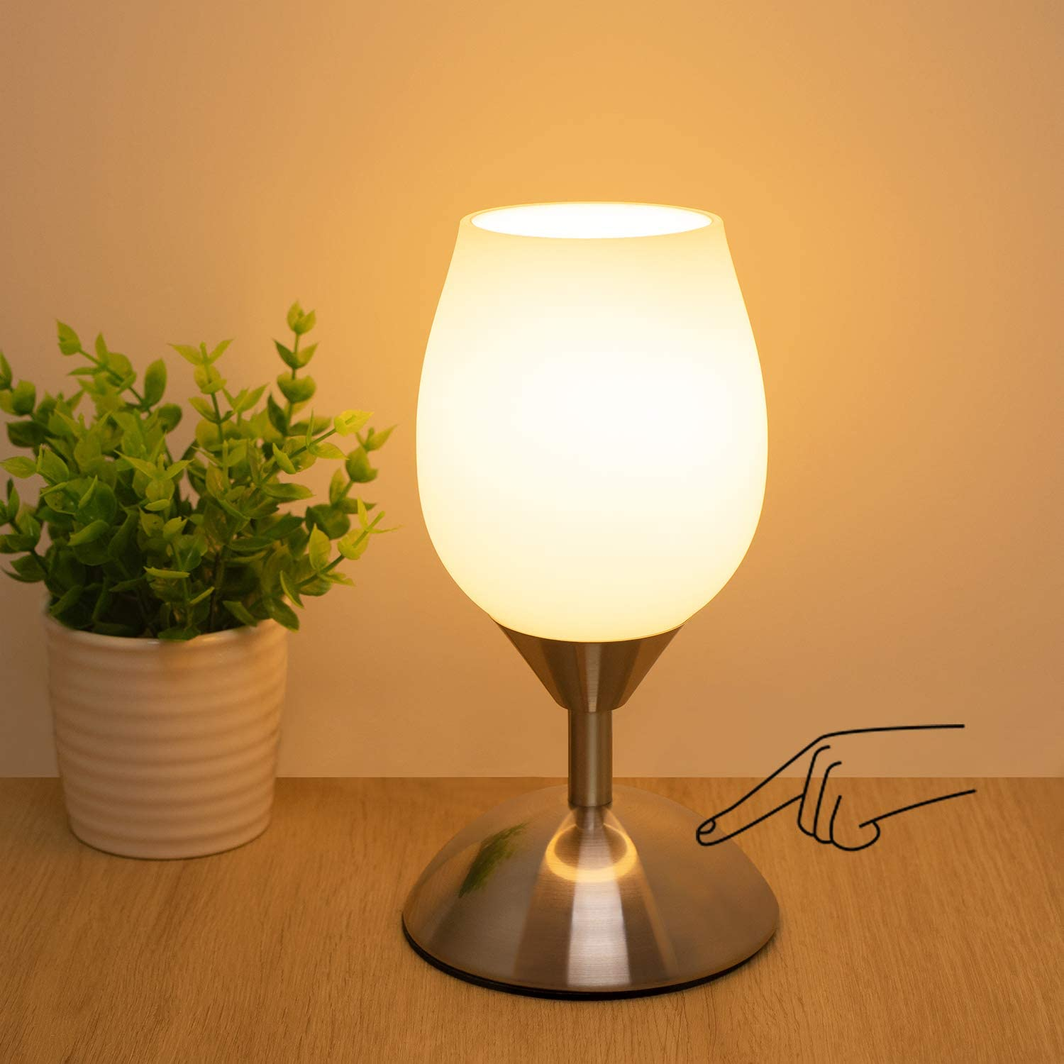 Boncoo Dimmable Touch Control Table Lamp, Small Touch Lamp with White Opal Glass Lampshade Ambient Light Bedside Little Lamp Silver Base Modern Accent Lamp for Bedroom, Living Room, E12 Bulb Included