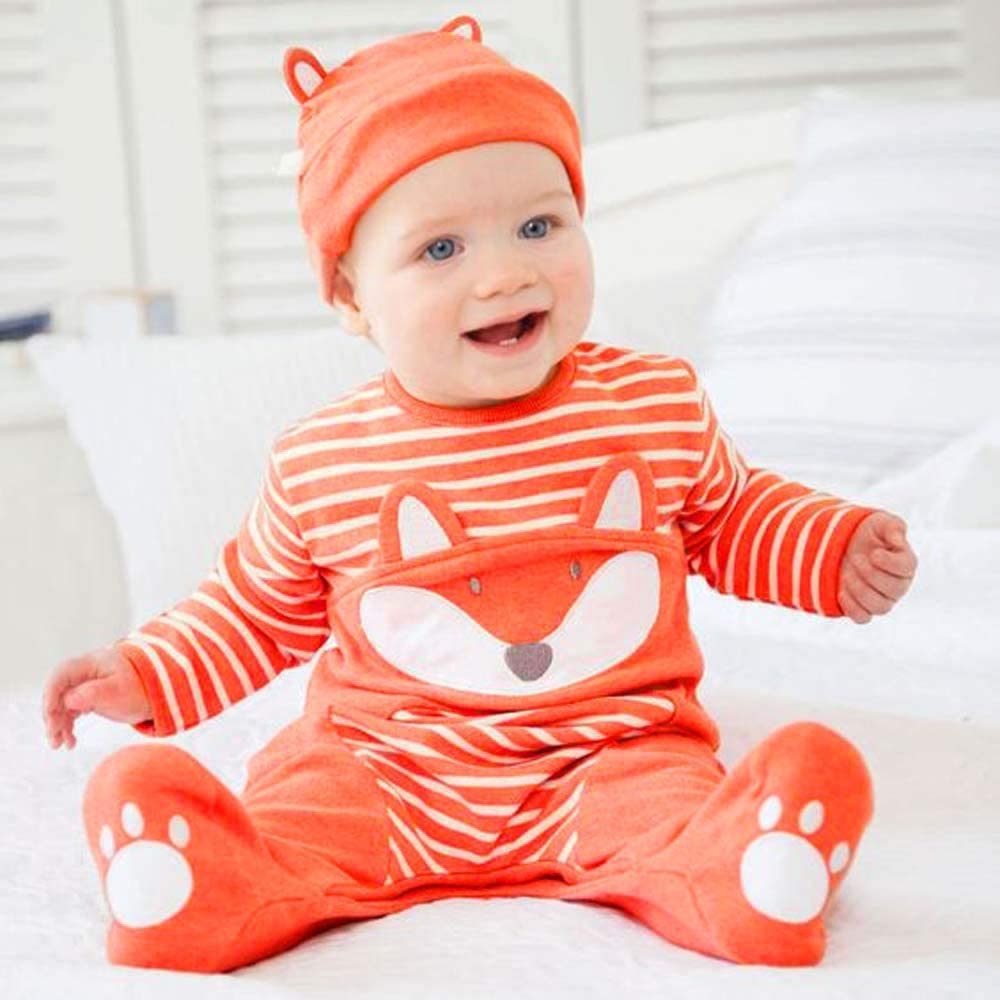 Newborn Baby Boy Girl Cartoon Print Striped Romper Jumpsuit Clothes Outfits Tops Pants Sets Tronet Winter Baby Clothes