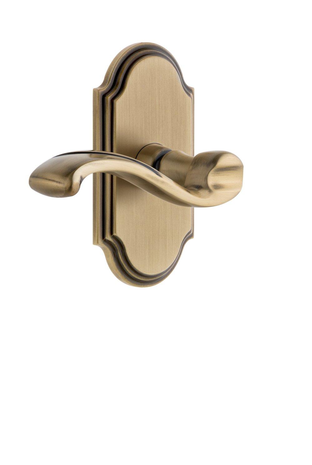 Grandeur 810698 Carre Plate Passage with Bellagio Lever in Lifetime Brass, Passage - 2.375 Grandeur Hardware