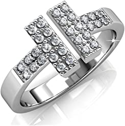 142f95d46 Cate & Chloe Kat Rock Star 18k White Gold Plated Ring with Swarovski  Crystals, Unique
