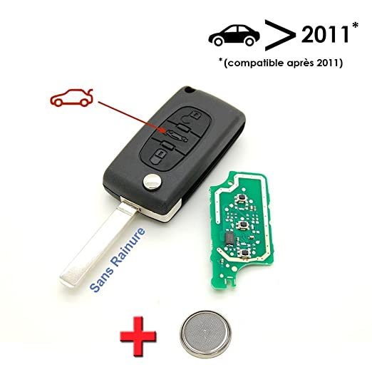 Llave electrónica a programar Peugeot 207 307 3 botón Caja ...