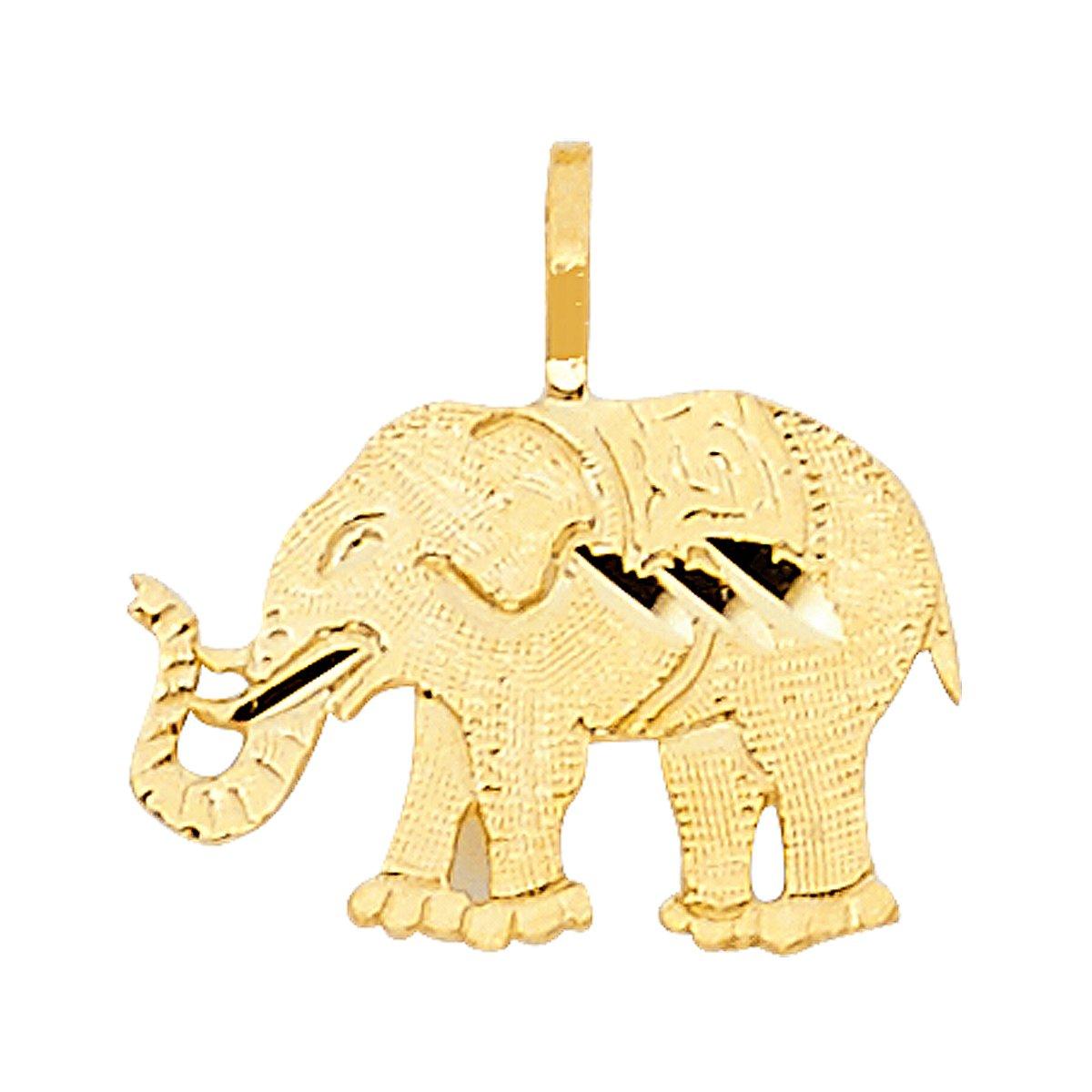 TGDJ 14K Yellow Gold Elephant Pendant- Height 10 MM Width 15 MM