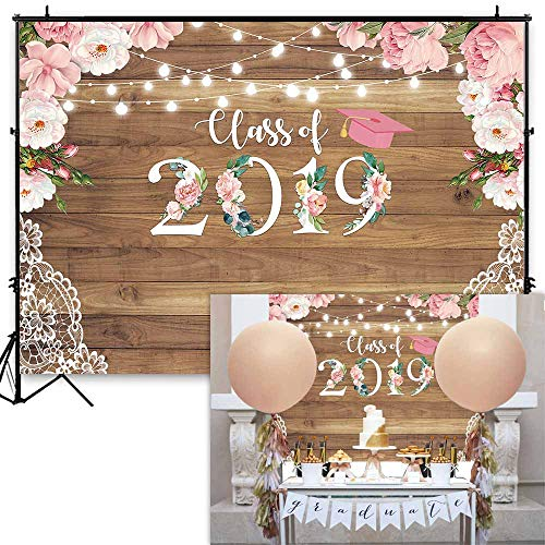 Funnytree 7x5ft Floral Graduation Party Backdrop Class of 2019 Flowers Wood Lace Rustic Photography Background Congrats Grad Prom Retro Wooden Floor Decorations Photo Studio Props Cake Table Banner -