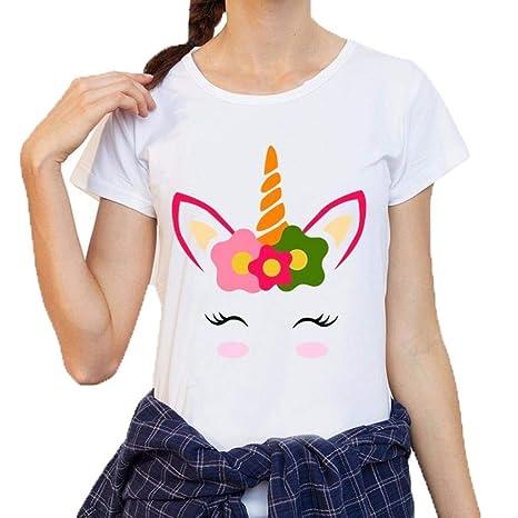 AiBarle - Camiseta de Manga Corta para Mujer, diseño de Unicornio con Estampado de Unicornio