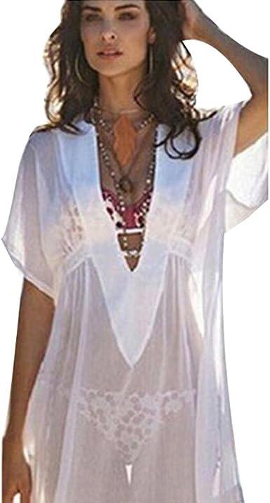 Vestidos de Playa Mujer Sexy Verano Mujer Traje de baño de Gasa Cubra Camisa Vestidos de baño Bikini Cover up Trajes de Baño Cubrir Mujer Camisolas y Pareos: Amazon.es: Ropa y accesorios
