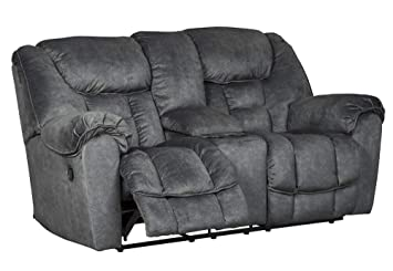 Enjoyable Signature Design By Ashley Capehorn Reclining Loveseat With Console Granite Forskolin Free Trial Chair Design Images Forskolin Free Trialorg