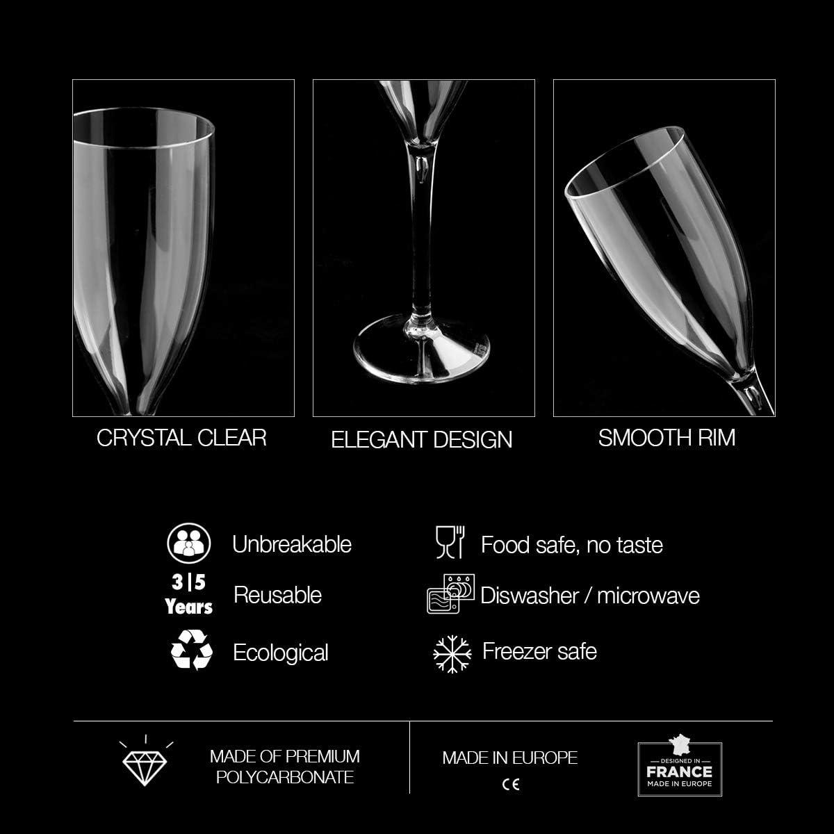 Set of 2 Black /& White Champagne Glasses Wedding Polycarbonate Flutes Prosecco