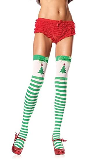15f652ecd Amazon.com  Green White Striped Thigh Highs Printed Christmas Tree ...