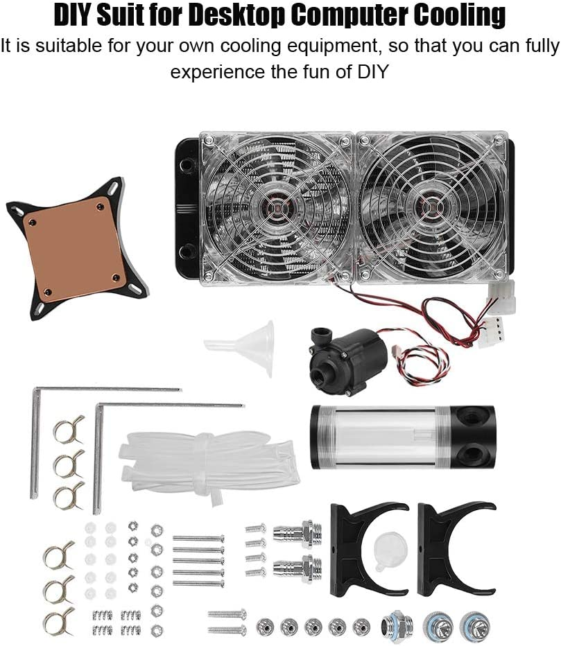 Tosuny Computer Water Cooling Kit,DIY Desktop PC Computer Water Cooling Cooler Radiator with Water Pump+GPU Water-Cooled+Double LED Fan for Computer PC.