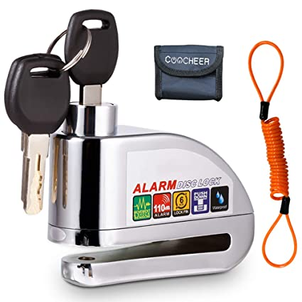 Sailnovo Candado Disco Moto, Bloqueo para Moto con Alarma De Acero Inoxidable Antirrobo De Seguridad con Sonido De Alarma 110db En Diseño Resistente ...