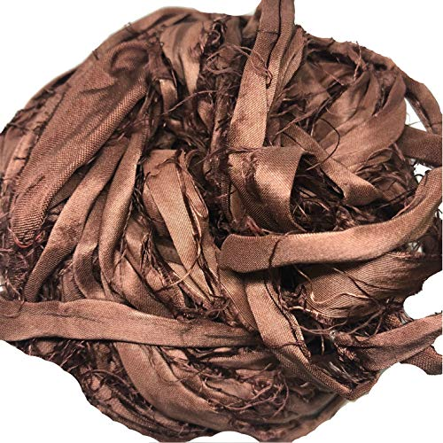 KnitSilk Super Bulky Recycled Sari Silk Ribbon Yarn in Brown | 50 GMS - 30 Yards | Duppioni Silk Ribbon | Ribbon for crafts, rug making, jewelry making, necklaces, silk scraps, silk strips (Pack of 1)