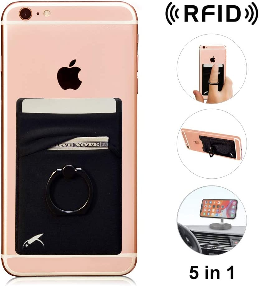 New 5-in-1 Cell Phone Wallet-Stick On Spandex Ring Card Holder Sleeve Back-Double-Pocket+Magnetic+Finger Grip Strap Loop+Kickstand+RFID Block ,Most of Smartphones (iPhone/Android/Samsung Galaxy)