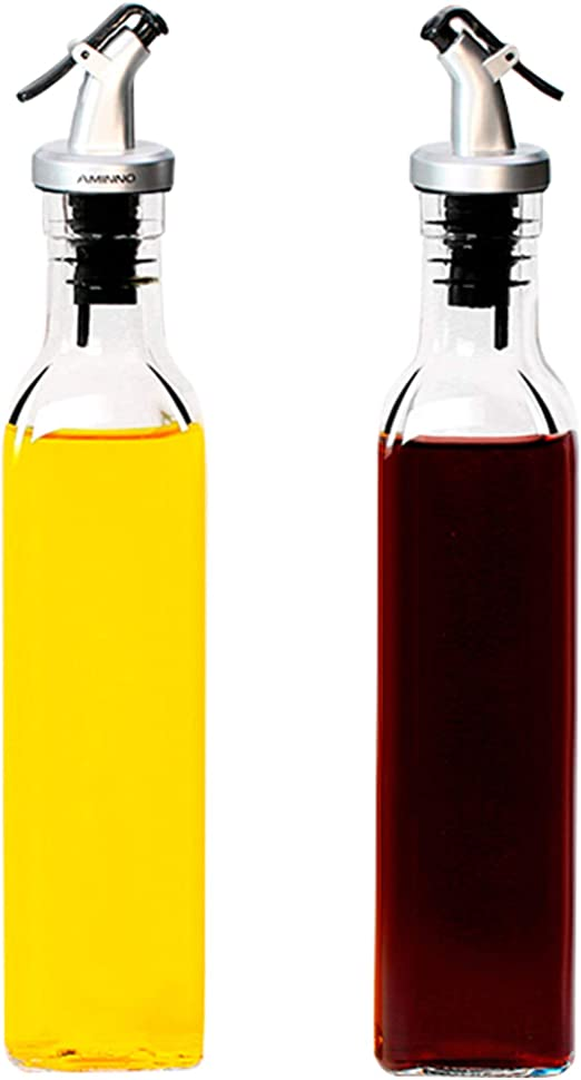 Juego de 2 botellas de vidrio con dispensador de aceite y vinagre ...