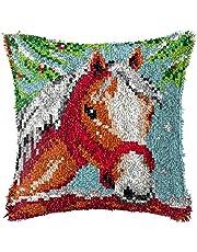 Latch Hook Rug Kits Horse Pillowcase DIY Needlework Kits Button Package Yarn Crochet Carpet