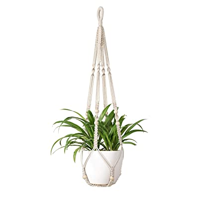 Mkono Macrame Plant Hangers Indoor Hanging Planter Basket with Wood Beads Decorative Flower Pot Holder Cotton Rope No Tassels for Indoor Outdoor Home Decor, 35 Inch: Garden & Outdoor