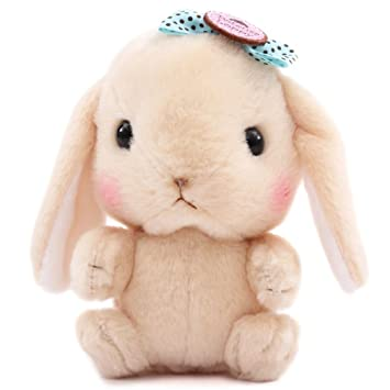 Kawaii Muñeco de peluche conejo beis con lazo azul claro Poteusa Loppy de Japón