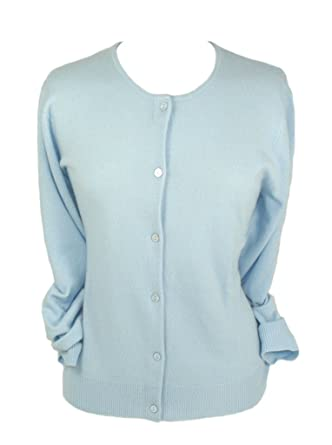 Ladies Cashmere Cardigan, Baby Blue, S