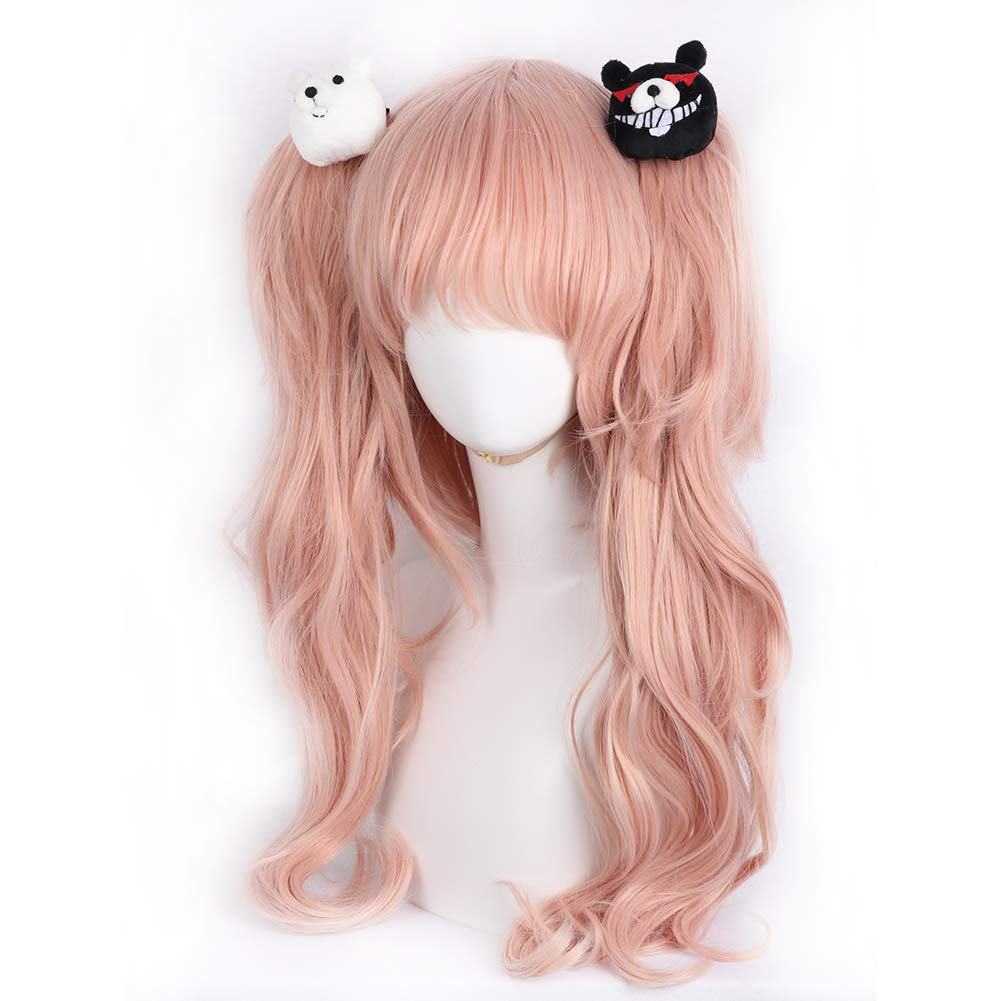 WKS Danganronpa Junko Enoshima Wig+Clip,Anime Cosplay Women Costume Light Pink Long Curly Synthetic Hair Accessory by WKS
