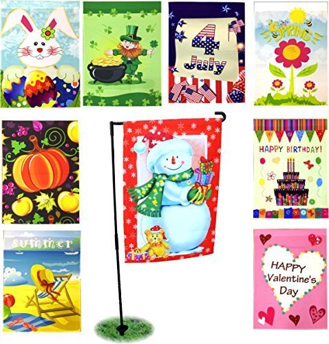 "Seasonal Holiday Garden Flags Set of 9 – 12"" x 18""– Includes FREE BONUS Black Garden Flag Pole Stand"