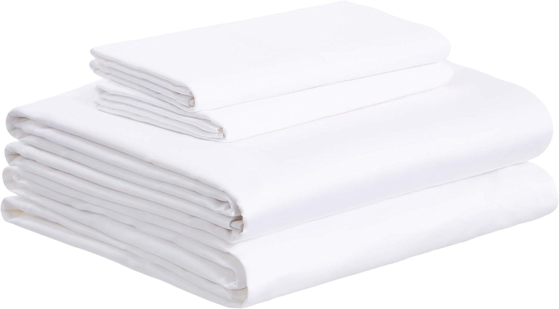 AmazonBasics Super-Soft Sateen 400 Thread Count Cotton Sheet Set - Full, White