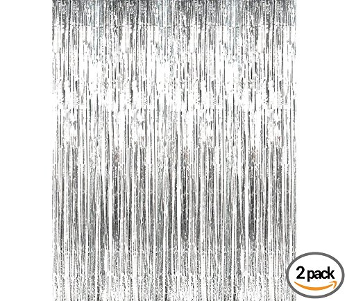Silver Metallic Tinsel Foil Fringe Curtains for Party Photo Booth Props | Backdrop | Wedding Décor | Baby Shower| Graduations | Valentine Day | Bachelorette| Birthday Party Door Decorations 2 Pack by Paris Products Co