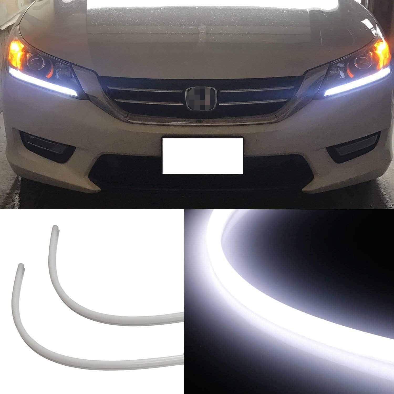 iJDMTOY (2) Even Illuminating Headlight LED Daytime Running Lights Retrofit LED Assembly Compatible With 2013-2015 Honda Accord Sedan, Xenon White
