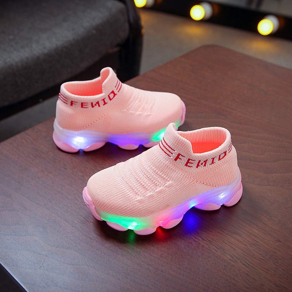 Girls Boy Knit Sport Breathable Flashing Led Yeezy Sneaker Socks Kid Casual Fashion Walking Running Nonslip Letter Shoes