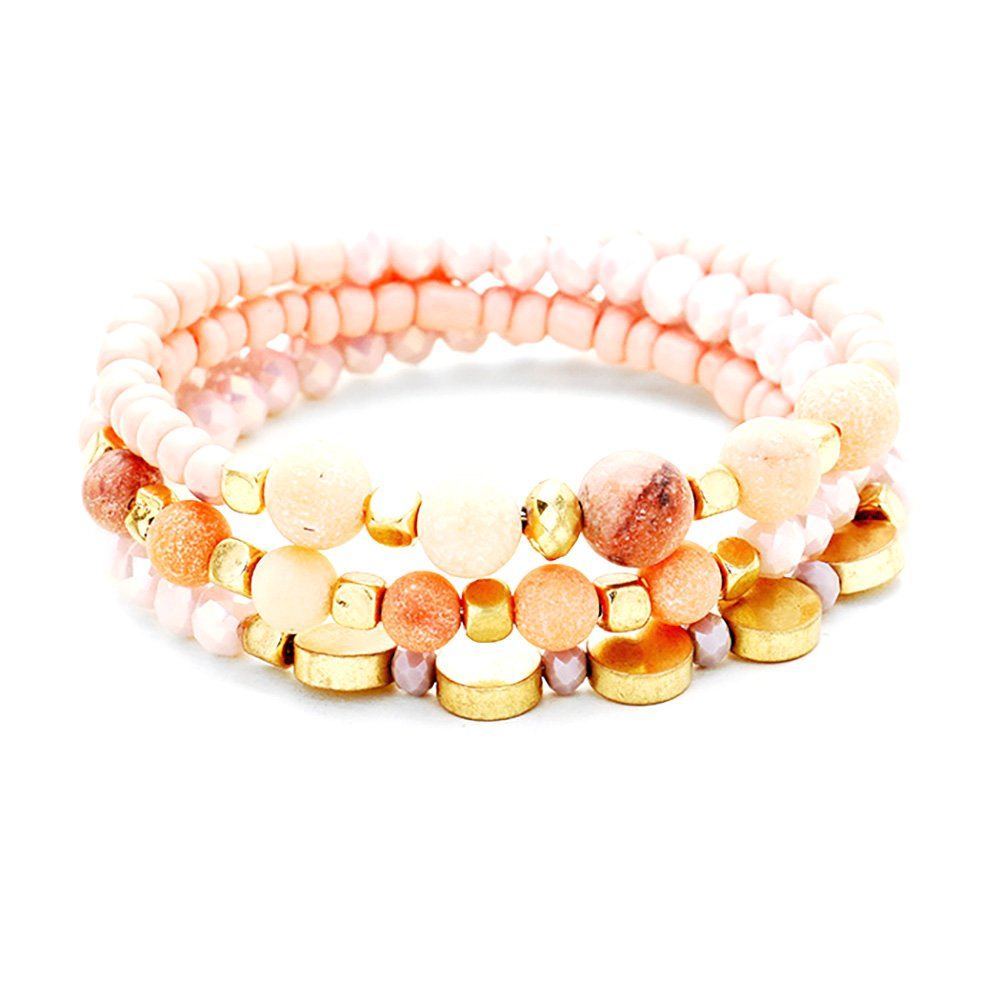 Emulily Multi Beaded Semi Precious Stones Accented Coil Bracelet Glass Seed Beads