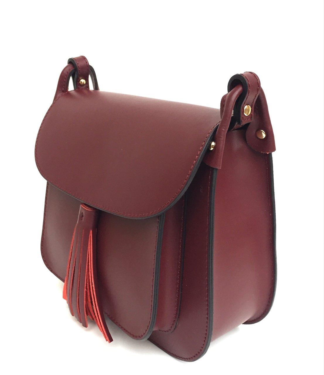 Superflybags handväska modell Francesca superflybags axelväska i äkta läder tillverkad i Italien Bordeaux