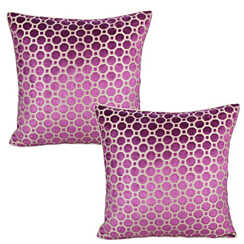 All Smiles 2-Pack Decorative Magenta Soft Velvet Throw Pillow Cover Set Dot Geometric Cushion Cases 17x17