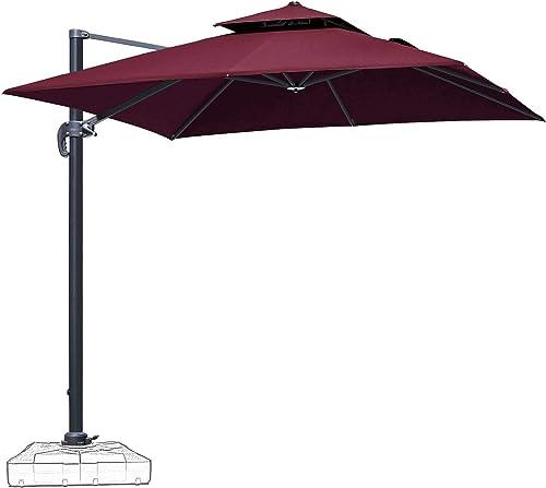 Patiassy 10 Feet Double Top Square Patio Umbrella Offset Hanging Umbrella Outdoor Market Garden Cantilever Umbrella, 5 Years Non-Fading Fabric All Aluminum Custom Frame, Red