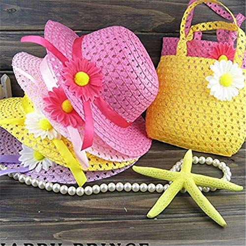 Tea Party For Girls (3 Girls Tea Party Sun Hat and Purse Sets. Includes 3 Purses & 3Daisy Flower Sunhats(Random)