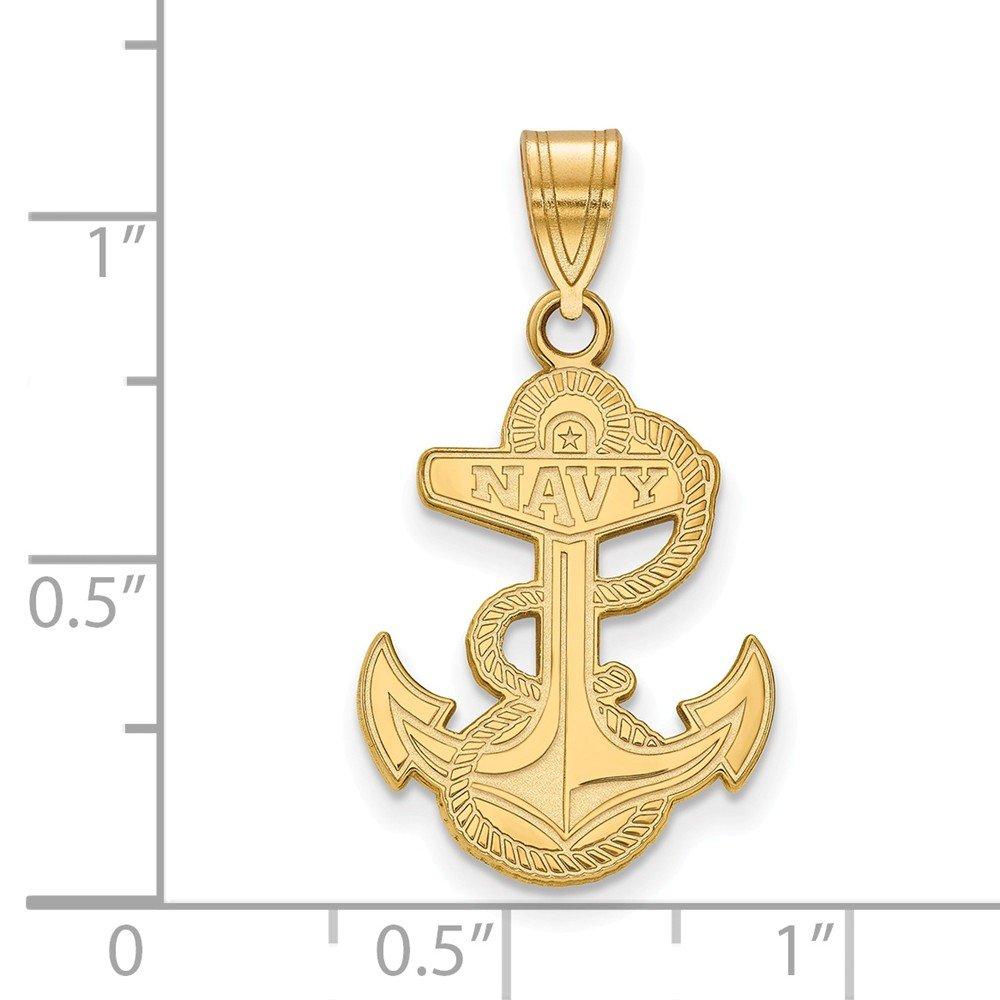 14k Yellow Gold US Naval Academy Navy Midshipmen Mascot Full Body Pendant