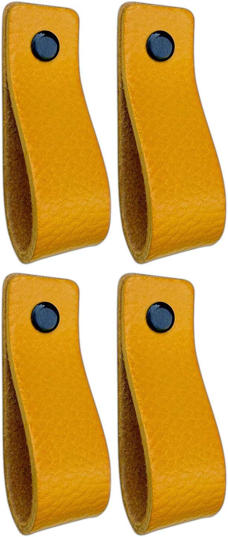 Tiradores de Cuero | Amarillo Ocre / 4 piezas | 16,5 x 2,5 cm | Piel de Granos | 3 tornillos de color - tiradores para Accesorio de Mobilario, armario, cajón, puerta
