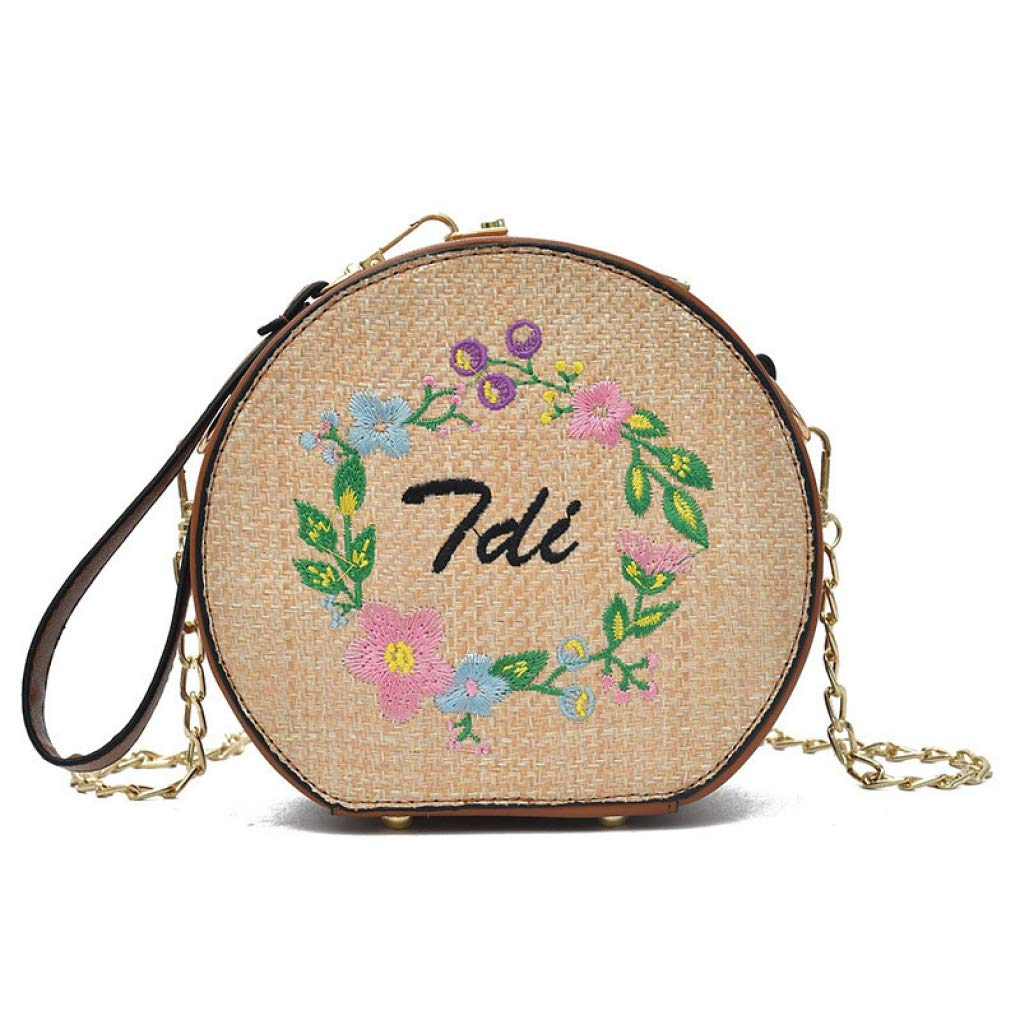 Brown2 Women Round Straw Bag Ladies Woven Rattan Tote Shoulder Crossbody Handbag for Beach Travel Daily using