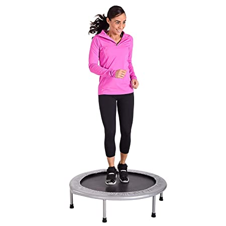 Eslibai Foldable 50 Mini Trampoline Rebounder, Max Load 300lbs Rebounder Trampoline Exercise Trampoline with Adjustable Handrail for Indoor Garden Workout Cardio Black