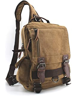 ccf2b3168b Jiao Miao Canvas Shoulder Backpack Travel Rucksack Sling Bag Cross Body  Messenger Bag,180308-